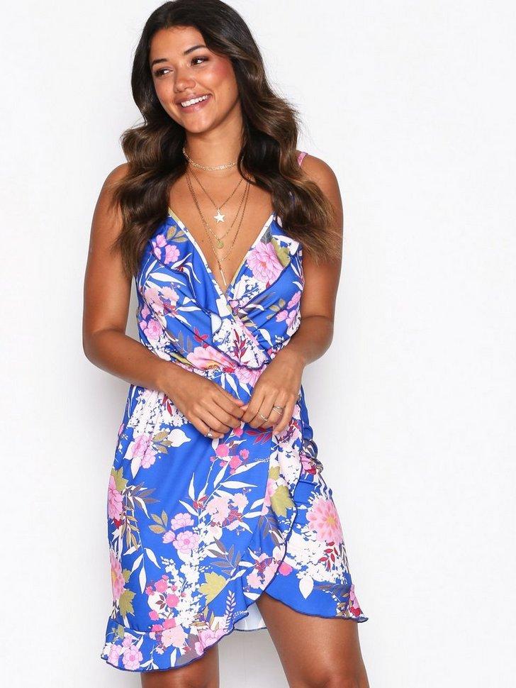 Frill Wrap Print Dress køb festkjole