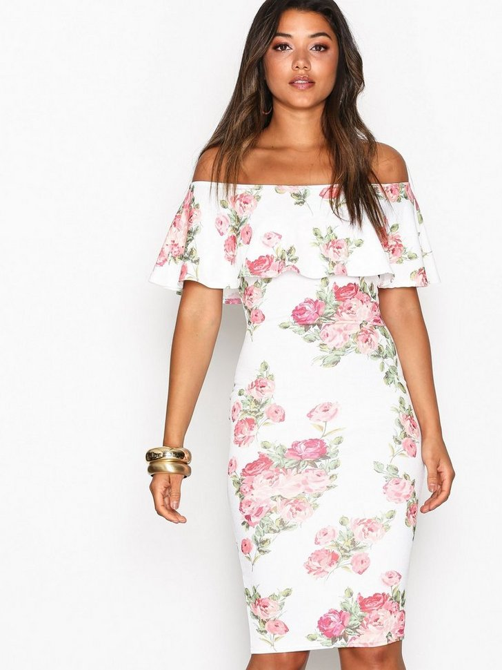 Frill Print Dress køb festkjole