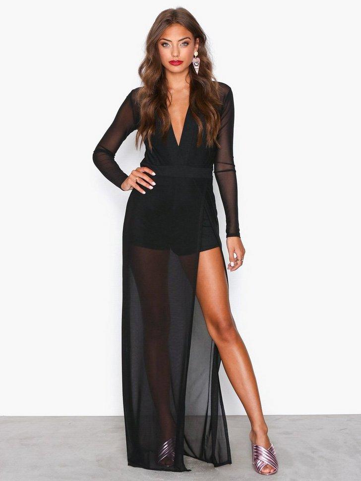 Mesh High Slit Dress køb festkjole