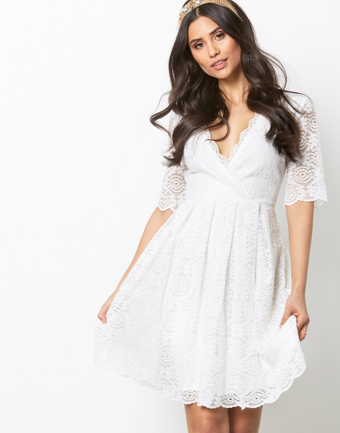 Short Sleeve Lace Dress by Nly One