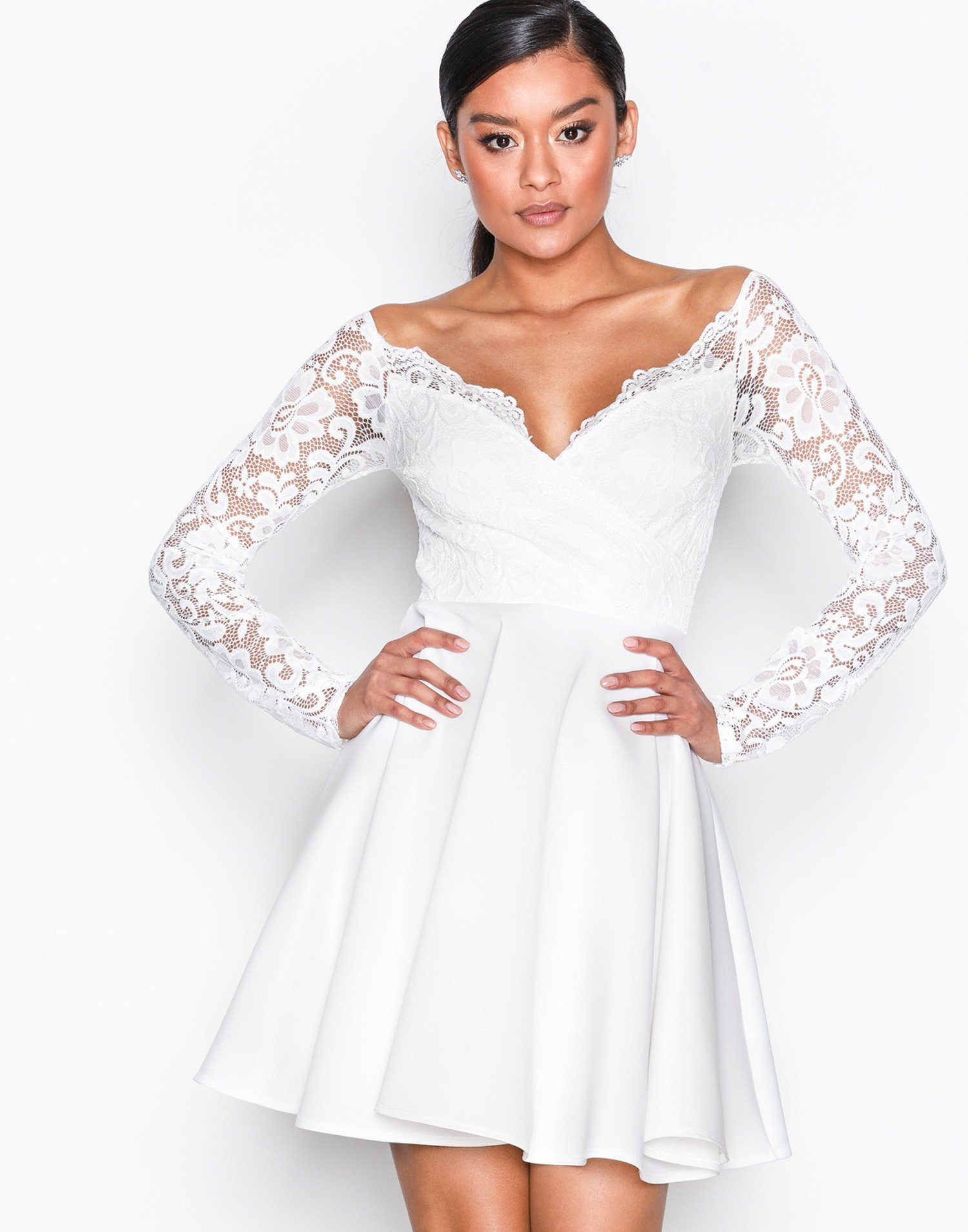 Off Shoulder Lace Skater by Nly One