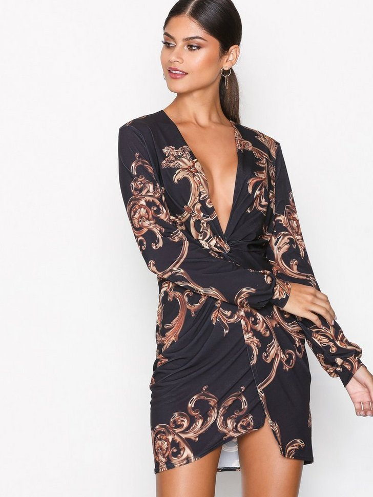 Twist Slit Print Dress køb festkjole