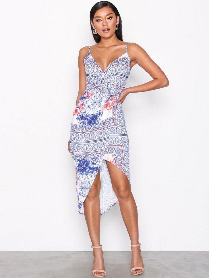 Wrap Ruched Print Dress køb festkjole