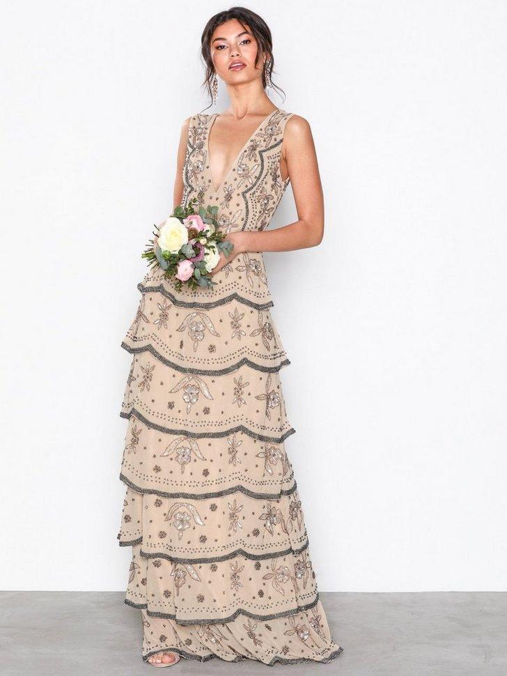 Tiered All Over Embellished Maxi Dress køb festkjole