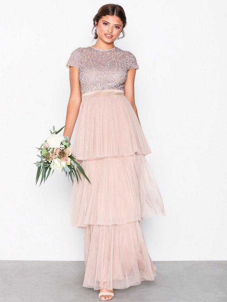 Layered Cap Sleeve Maxi Dress køb festkjole