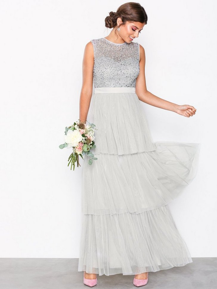 Gallakjole festkjole Sleeveless Layered Skirt Maxi Dress festtøj