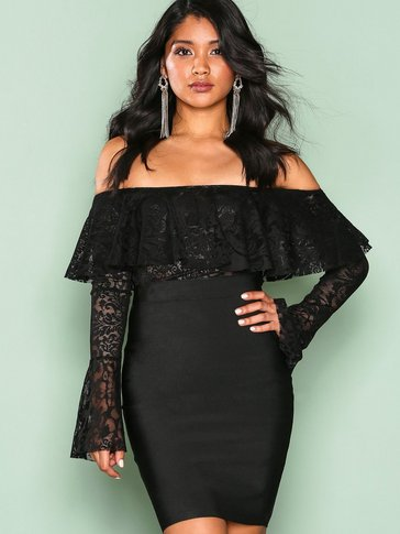 Wow Couture - Flute Sleeve Off Shoulder Dress