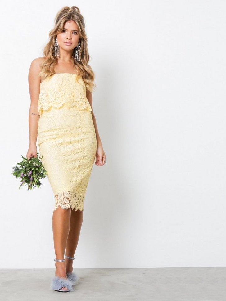 Lace Bandeau Midi Dress køb festkjole