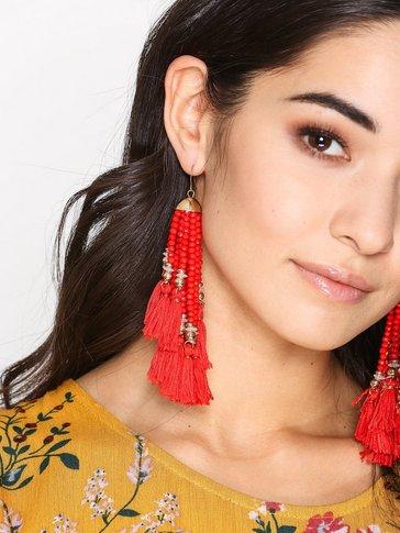 New Look - Beaded Tassel Drop Earrings