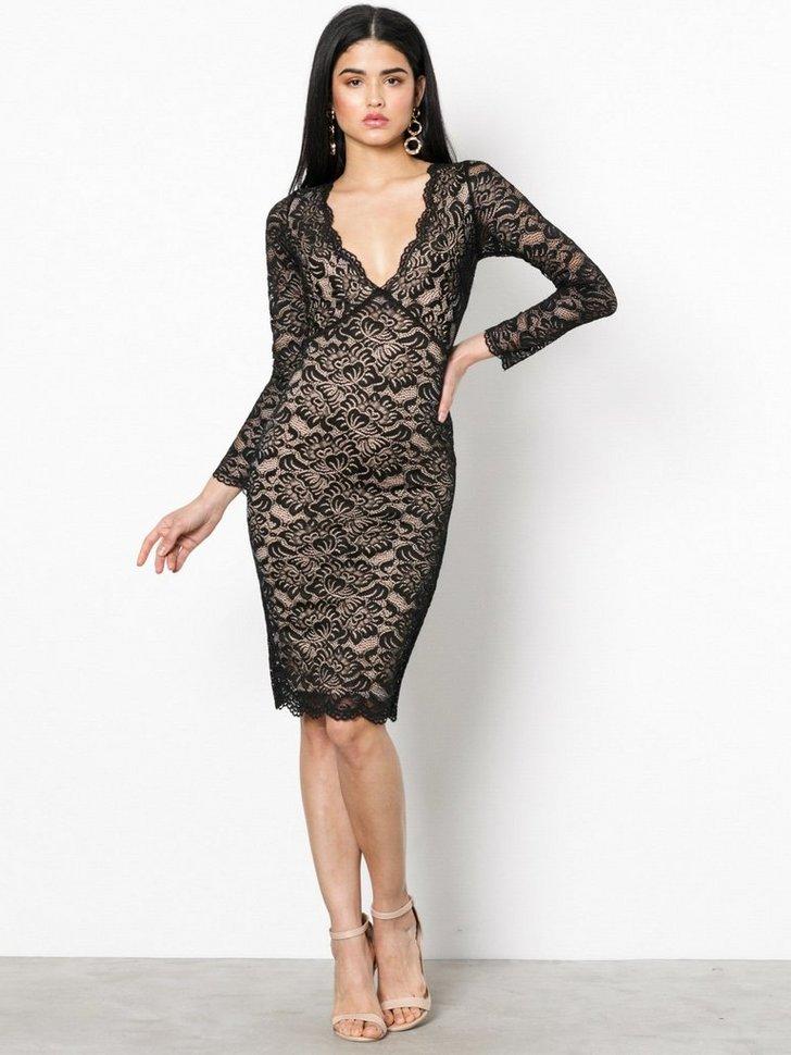 Lace Plunge Midi Dress køb festkjole