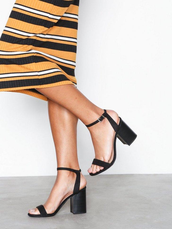 Festsko Suedette Wooden Block Heels køb