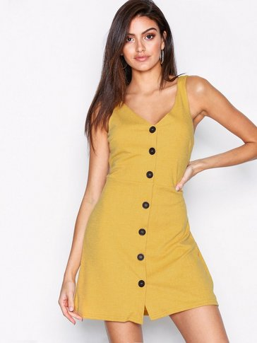 New Look - Cross Hatch Button Front Pinafore Dress