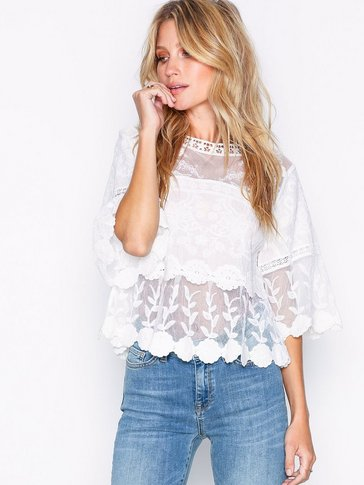 New Look - Crochet Mesh Scallop Hem Smock Top