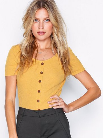 New Look - Button Front Ribbed T-Shirt