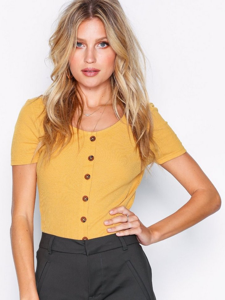 Button Front Ribbed T-Shirt