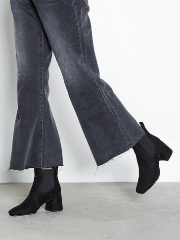 New Look - Suedette Square Toe Heeled Chelsea Boots
