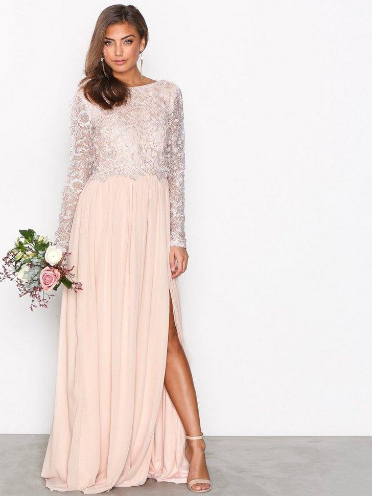 dc046db97526 Lace Trim LS Gown