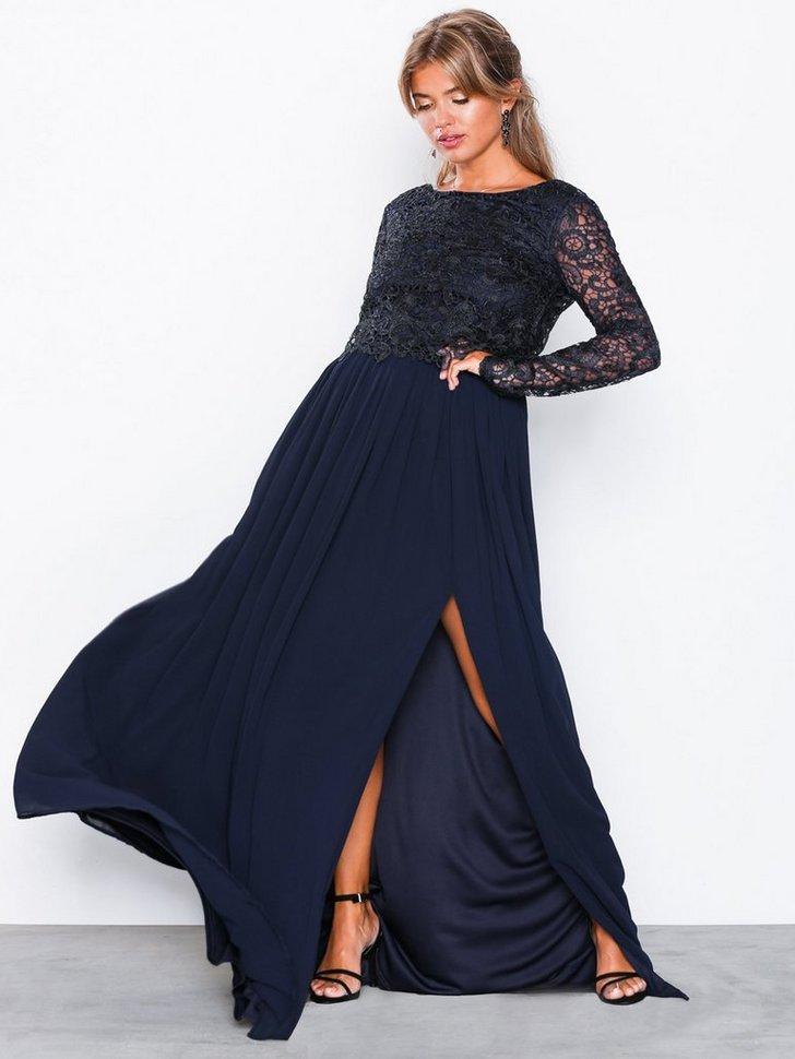 Gallakjole festkjole Lace Trim LS Gown festtøj