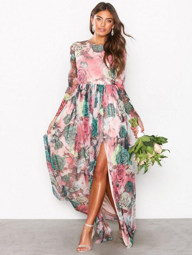 Printed LS Gown køb festkjole