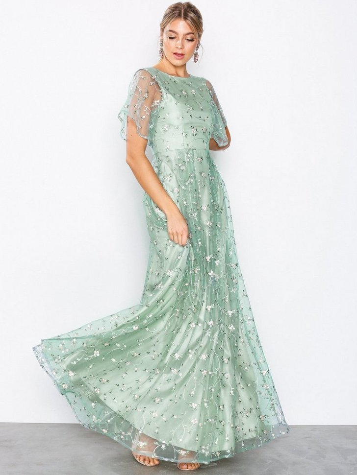 Embroidered Mesh Gown køb festkjole