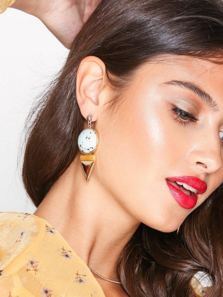 V Drop Stone Earrings festtøj smykker