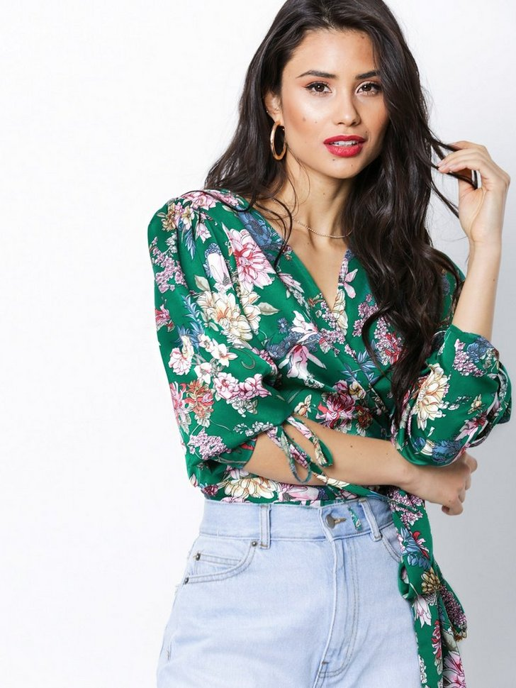 Sleeve Focus Wrap Blouse