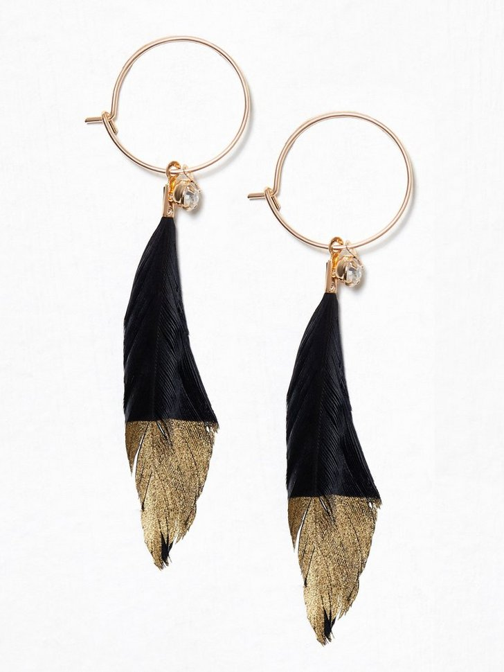 Nelly.com SE - Gold Feather Hoops 88.00