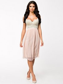 Pearl Bustier Chiffon Dress Nude/Pink Te Amo - Nelly.com