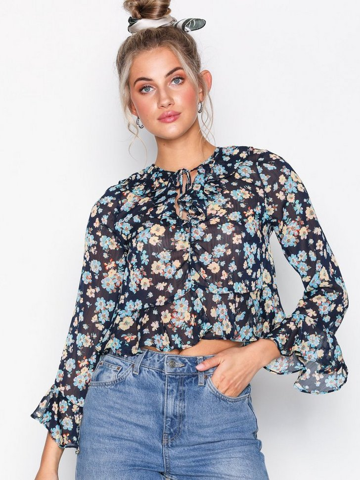 Festbluse Floral Print Frilled Ruffle Blouse festtop