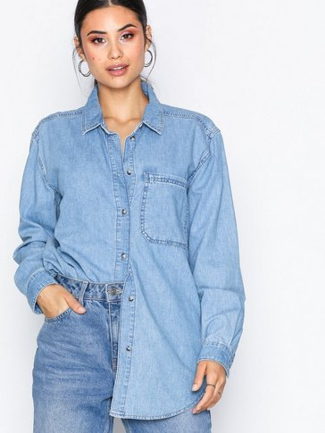 Topshop - MOTO Oversized Denim Shirt