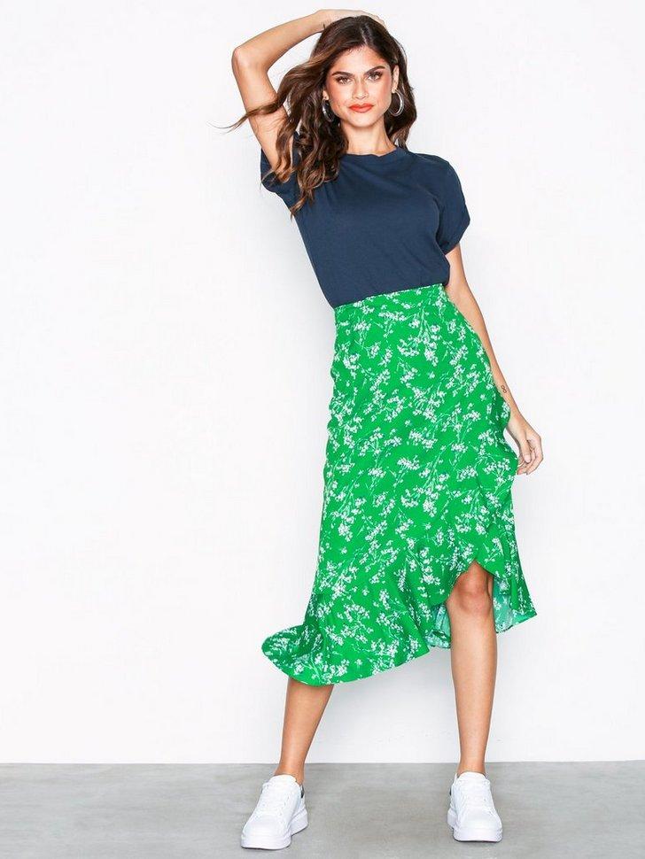 Whispy Floral Print Midi Skirt