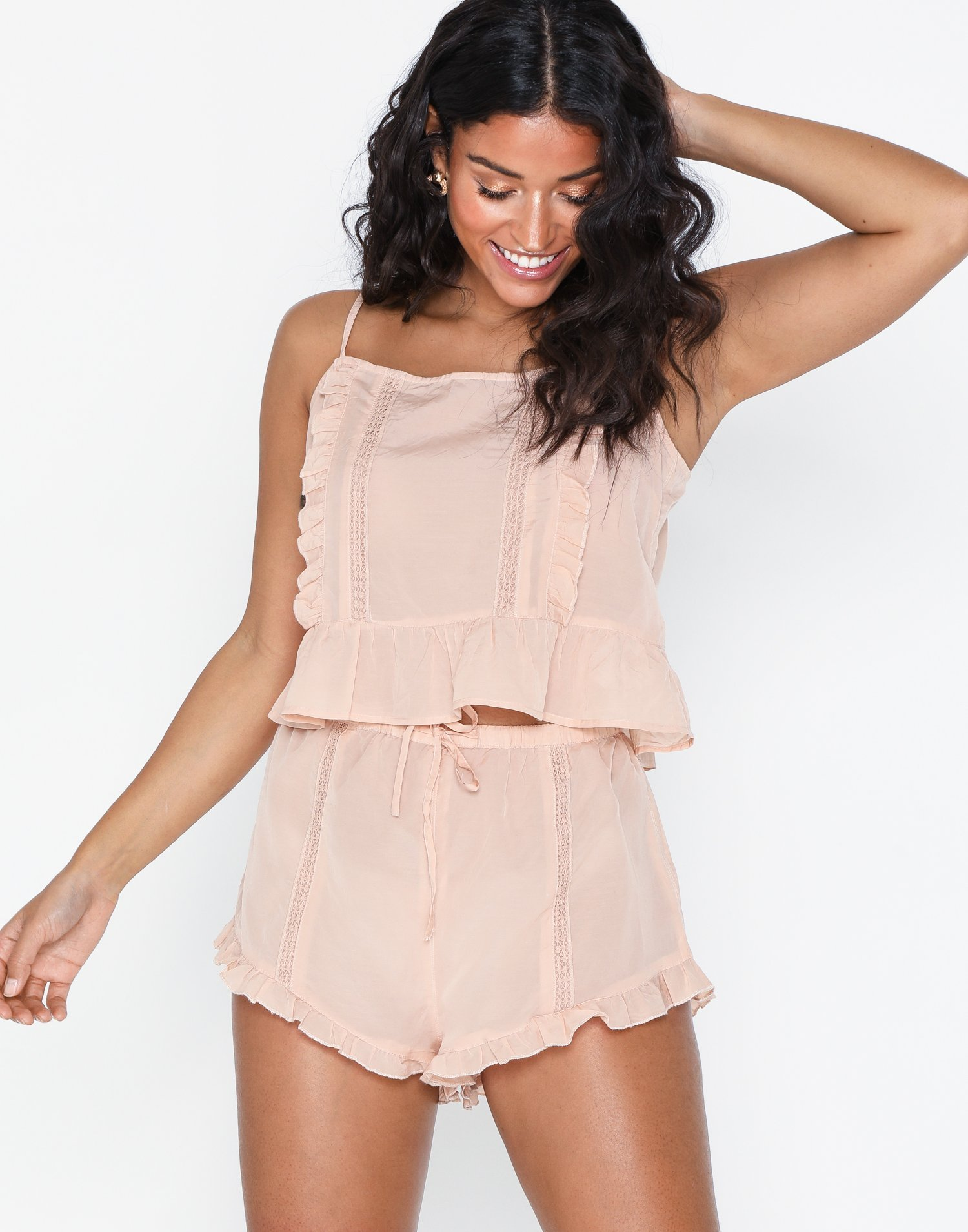 Peach Frill Lace Pyjama Set by Topshop