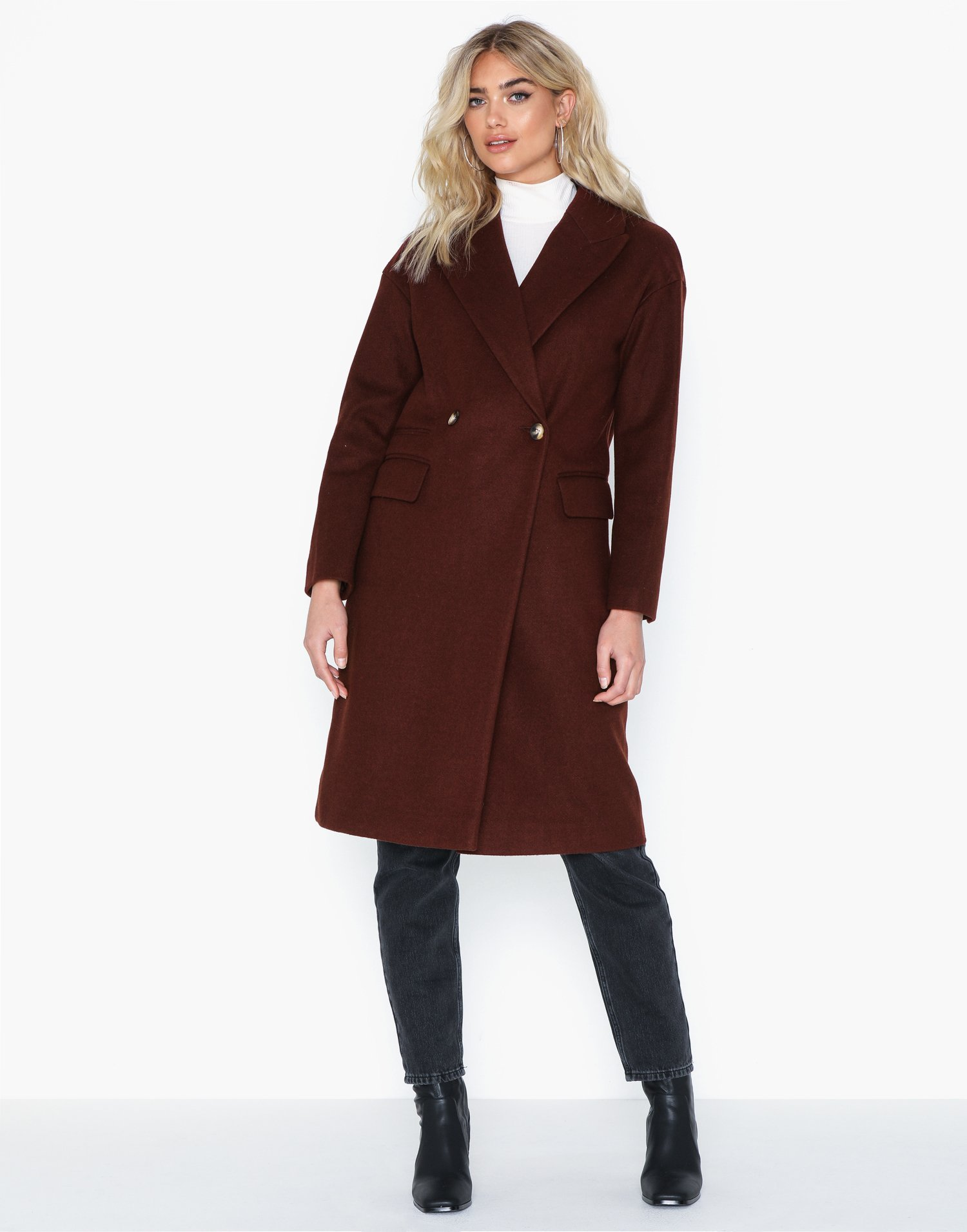 Burgundy Editor Overcoat by Topshop