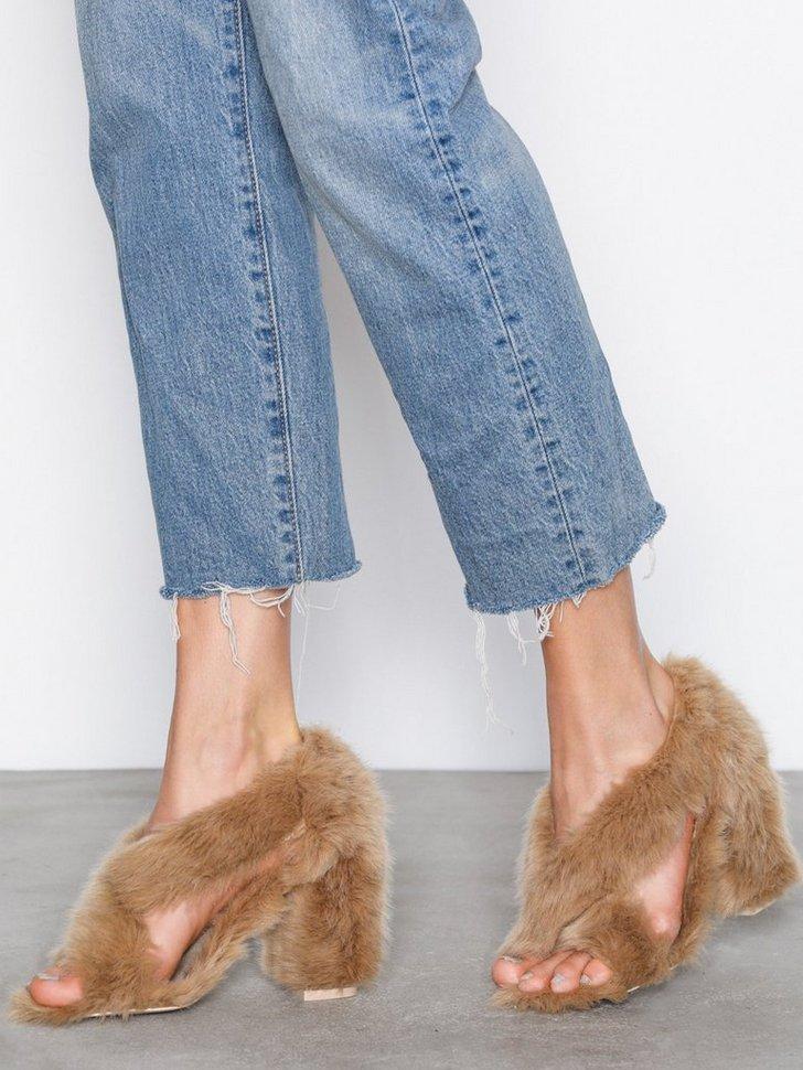 Festsko Fur Heel Sandal køb