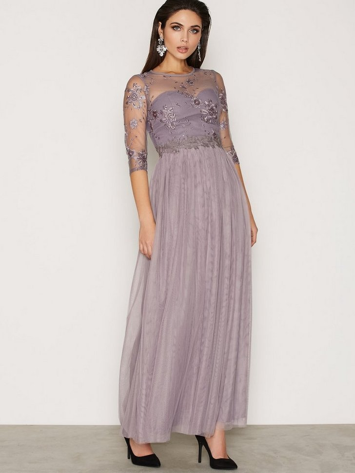 Nelly.com SE - Grey Lace And Embroidered Maxi Dress 998.00