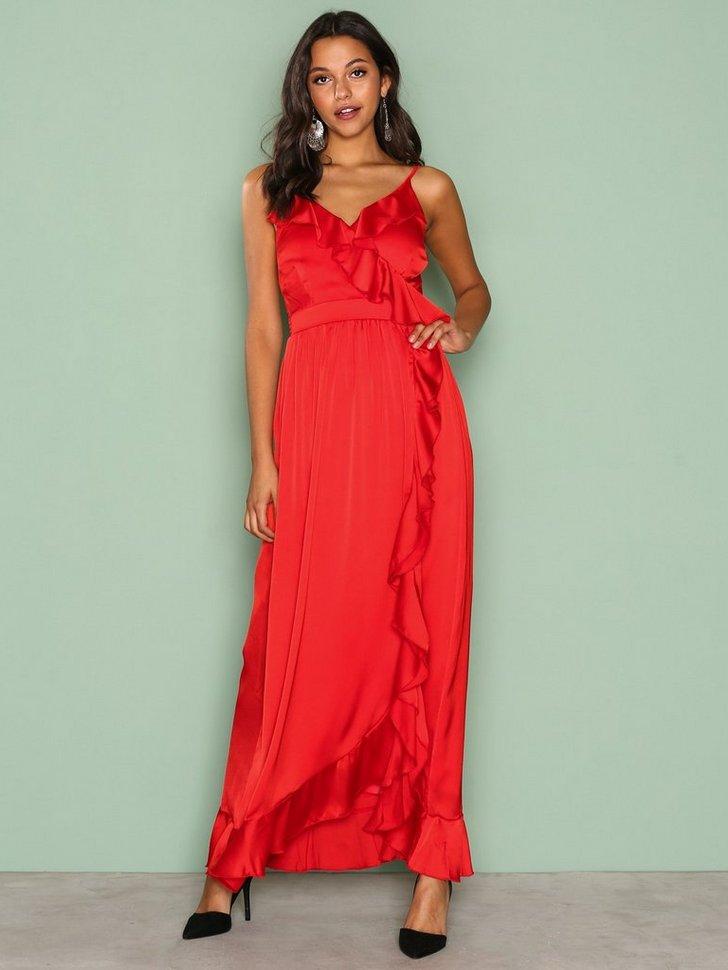 Wrap Ruffle Front Maxi Dress køb festkjole
