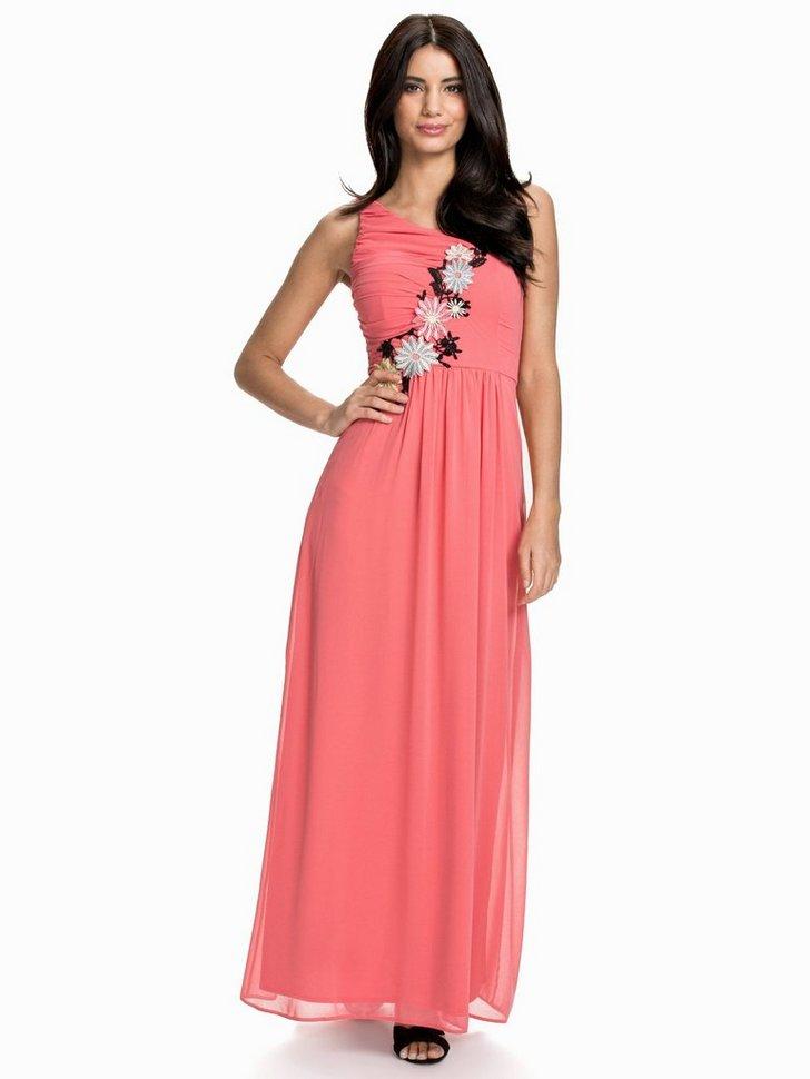One Shoulder Flower Aplique Maxi Dress