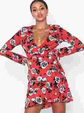 Rose Wrap Frill Mini Dres