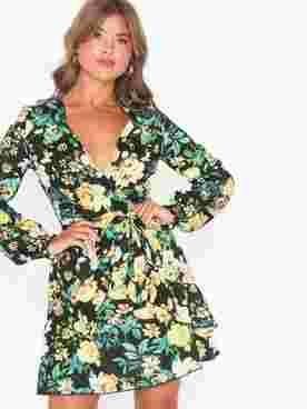 Floral Print Wrap Frill Mini Dress
