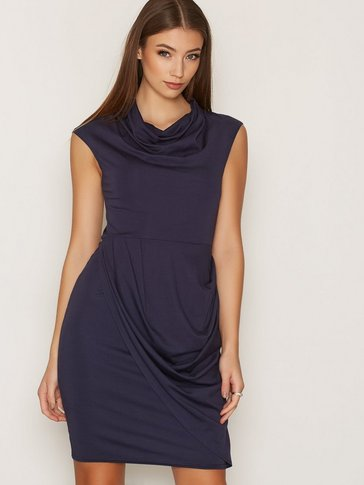 Closet - Round Neck Drape Skirt Dress