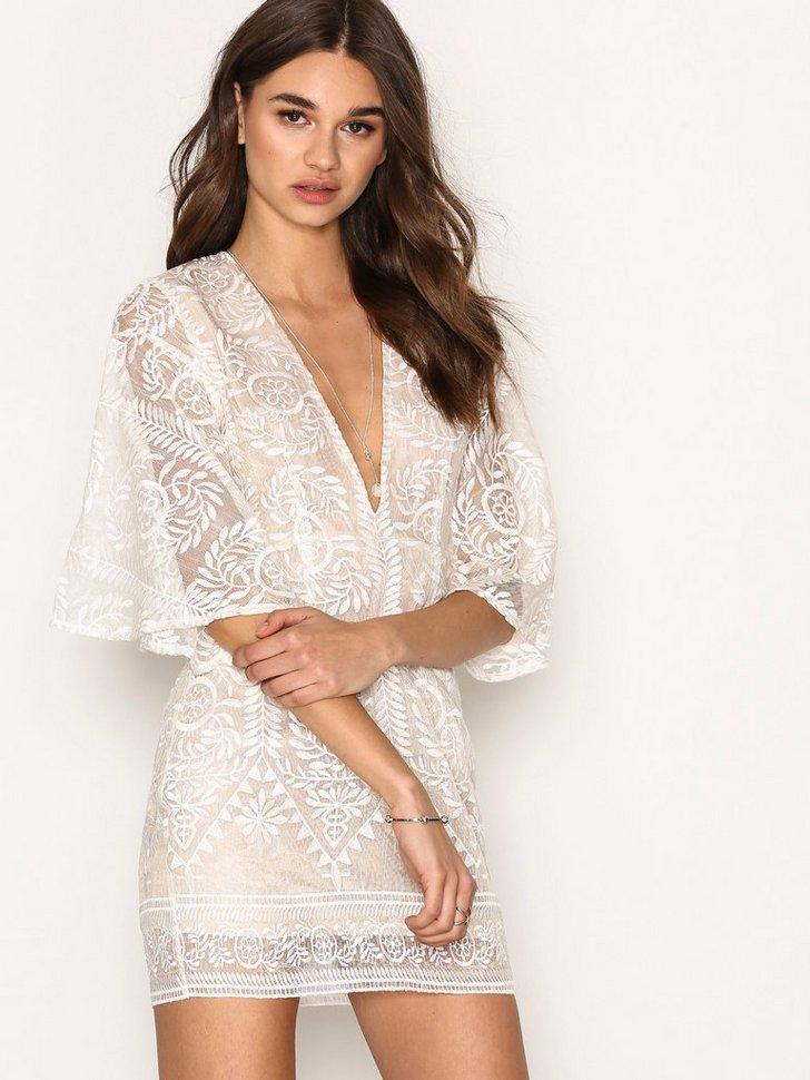Kimono Flared Sleeve Lace Bodycon Dress køb festkjole