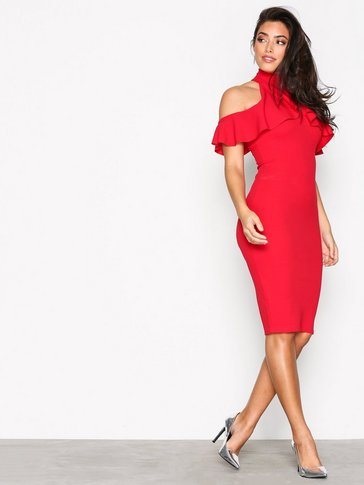 Missguided - High Neck Frill Cold Shoulder Midi Dress