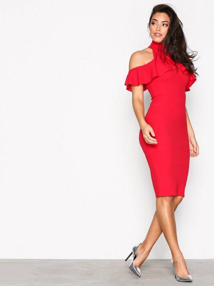Festkjoler High Neck Frill Cold Shoulder Midi Dress - festtøj mode