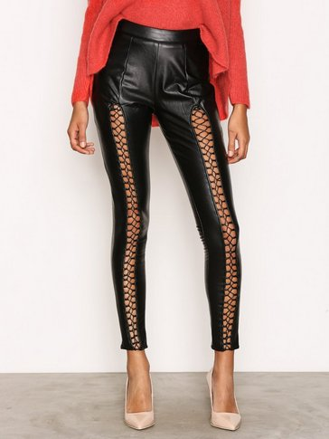 Missguided - Lace Up Insert Faux Leather Trouser