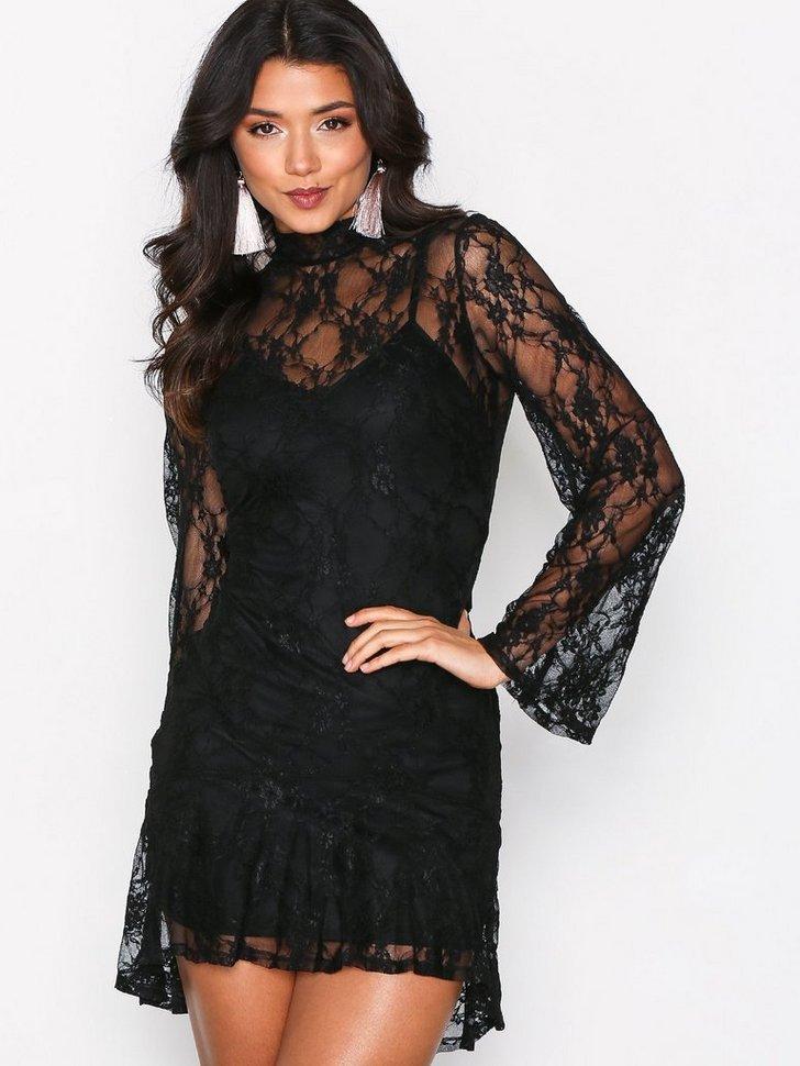 Sheer Lace Frill Hem Dres køb festkjole