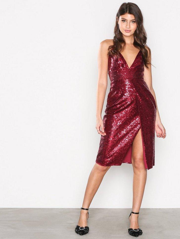 Sequin Strappy Midi Dress køb festkjole