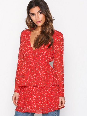Missguided - Polka Dot Plunge Dress