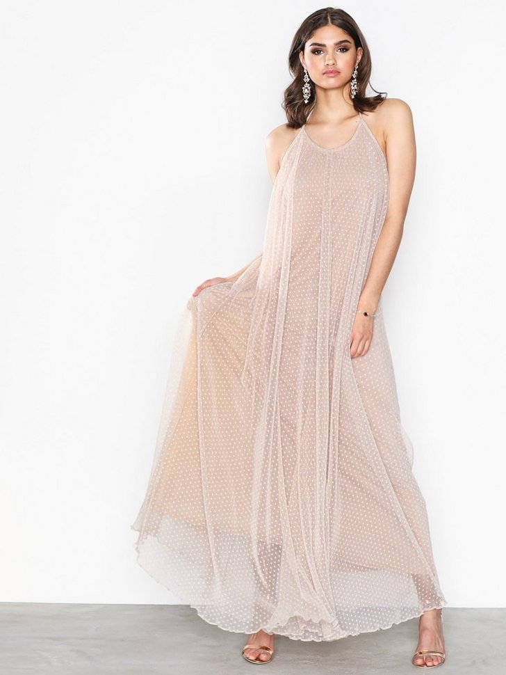 Gallakjole festkjole Mesh Drop Back Maxi Dress festtøj