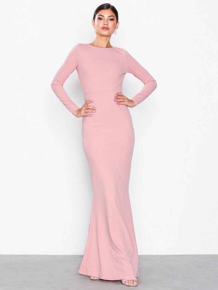 Long Sleeve Open Back Maxi Dress - køb billigt Dametøj