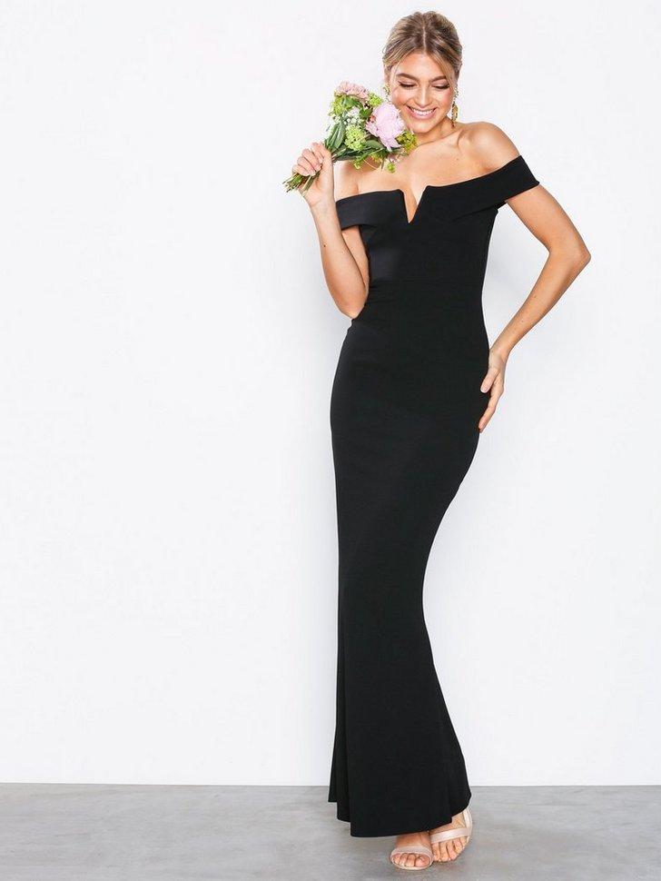 Crepe Bardot V Plunge Maxi Dress køb festkjole